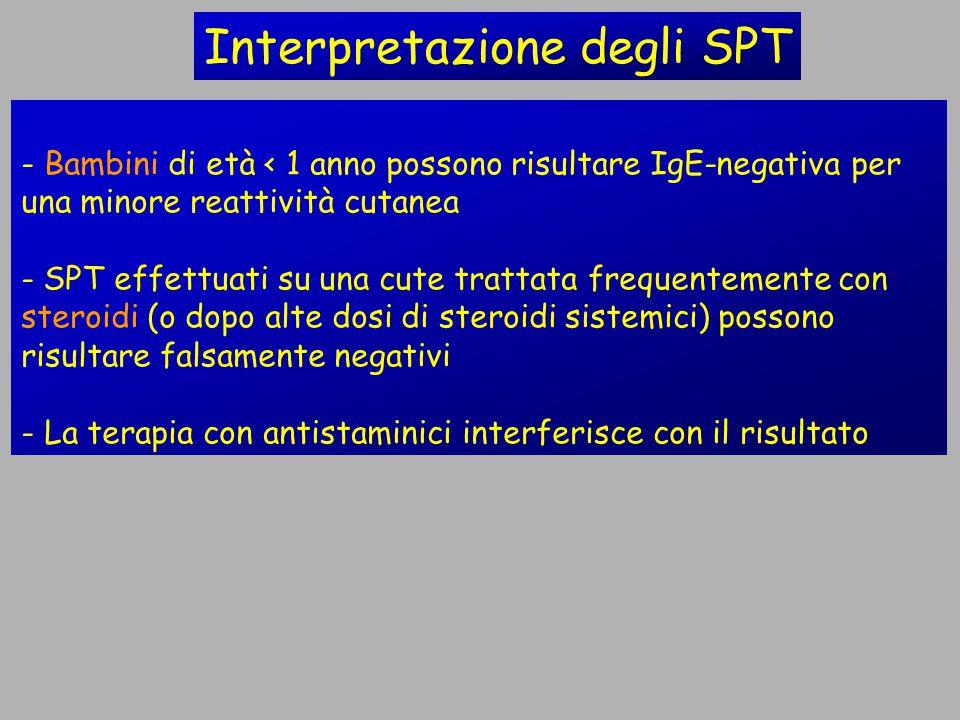 - Bambini di età < 1 anno possono risultare IgE-negativa per una minore reattività cutanea - SPT effettuati su una cute trattata frequentemente con st
