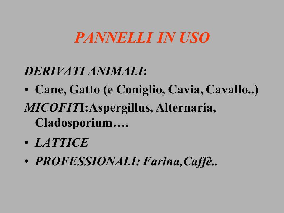 PANNELLI IN USO DERIVATI ANIMALI: Cane, Gatto (e Coniglio, Cavia, Cavallo..) MICOFITI:Aspergillus, Alternaria, Cladosporium…. LATTICE PROFESSIONALI: F