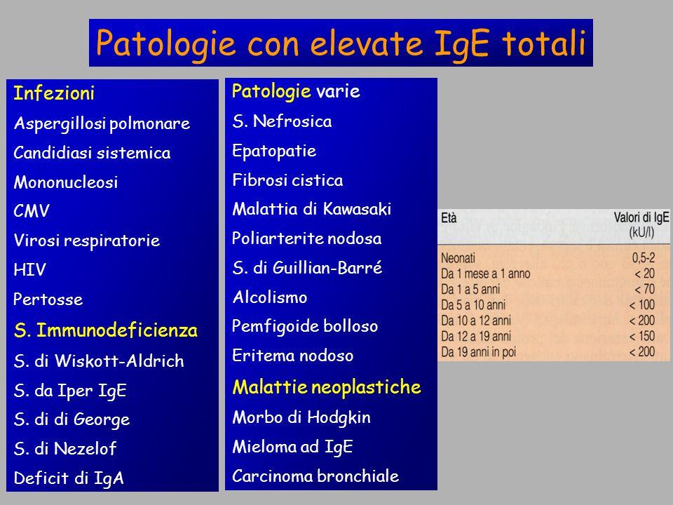 Patologie con elevate IgE totali Infezioni Aspergillosi polmonare Candidiasi sistemica Mononucleosi CMV Virosi respiratorie HIV Pertosse S.