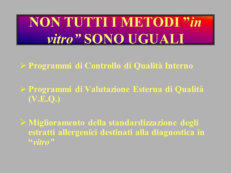 """NON TUTTI I METODI """"in vitro"""" SONO UGUALI  Programmi di Controllo di Qualità Interno  Programmi di Valutazione Esterna di Qualità (V.E.Q.)  Miglior"""