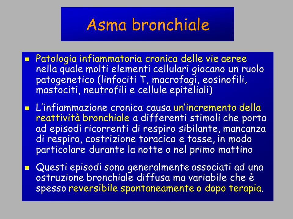 Asma bronchiale Patologia infiammatoria cronica delle vie aeree nella quale molti elementi cellulari giocano un ruolo patogenetico (linfociti T, macrofagi, eosinofili, mastociti, neutrofili e cellule epiteliali) L'infiammazione cronica causa un'incremento della reattività bronchiale a differenti stimoli che porta ad episodi ricorrenti di respiro sibilante, mancanza di respiro, costrizione toracica e tosse, in modo particolare durante la notte o nel primo mattino Questi episodi sono generalmente associati ad una ostruzione bronchiale diffusa ma variabile che è spesso reversibile spontaneamente o dopo terapia.