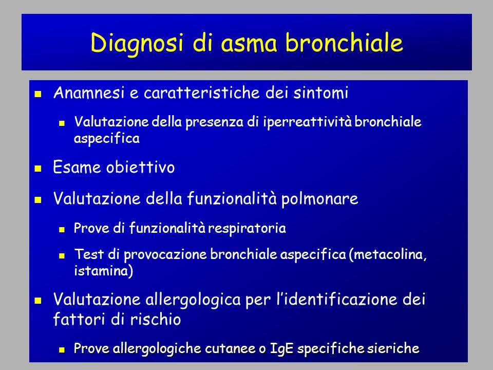 Anamnesi e caratteristiche dei sintomi Valutazione della presenza di iperreattività bronchiale aspecifica Esame obiettivo Valutazione della funzionalità polmonare Prove di funzionalità respiratoria Test di provocazione bronchiale aspecifica (metacolina, istamina) Valutazione allergologica per l'identificazione dei fattori di rischio Prove allergologiche cutanee o IgE specifiche sieriche Prove allergologiche cutanee o IgE specifiche sieriche Diagnosi di asma bronchiale