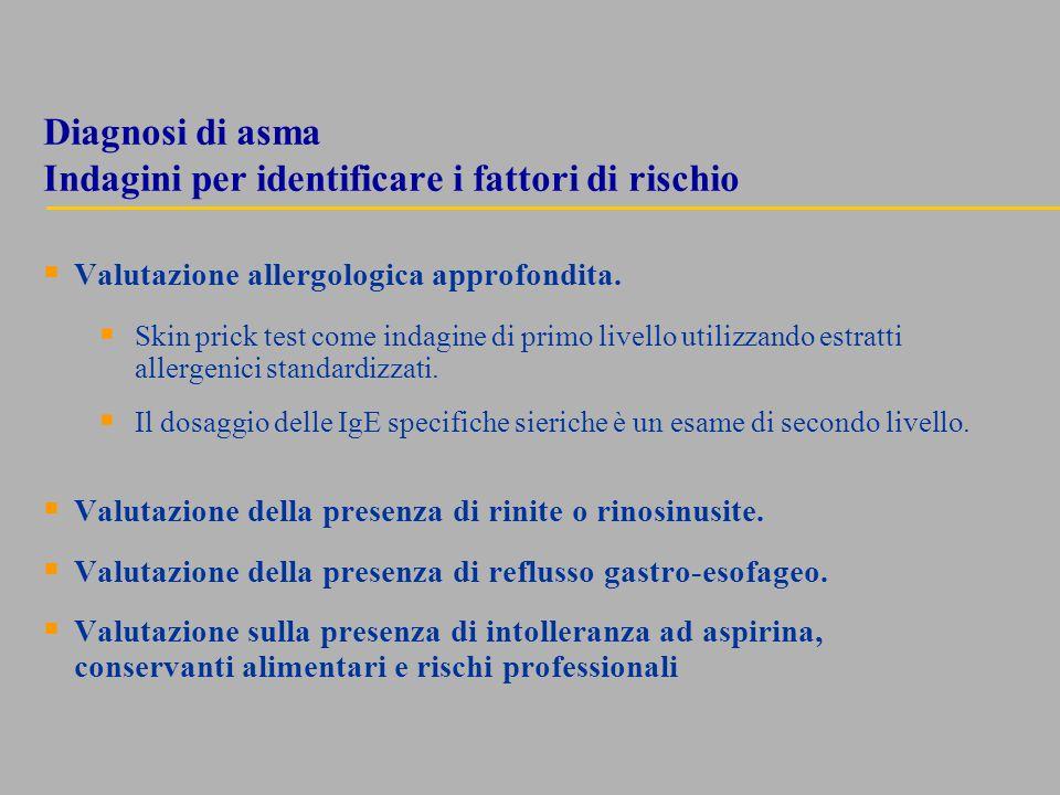 Diagnosi di asma Indagini per identificare i fattori di rischio  Valutazione allergologica approfondita.  Skin prick test come indagine di primo liv