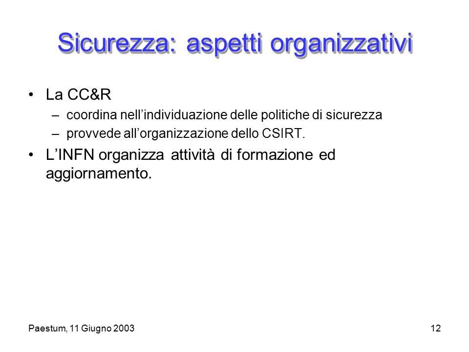 Paestum, 11 Giugno 200312 Sicurezza: aspetti organizzativi La CC&R –coordina nell'individuazione delle politiche di sicurezza –provvede all'organizzazione dello CSIRT.
