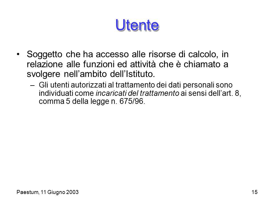 Paestum, 11 Giugno 200315 UtenteUtente Soggetto che ha accesso alle risorse di calcolo, in relazione alle funzioni ed attività che è chiamato a svolgere nell'ambito dell'Istituto.