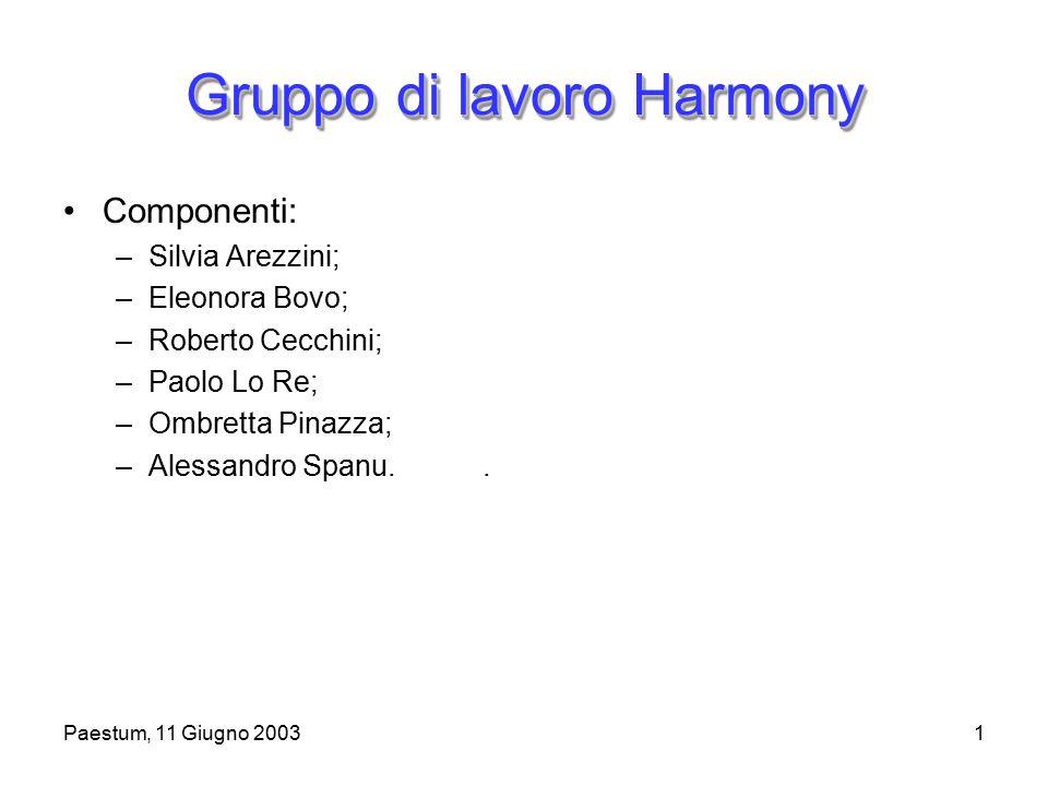 1 Gruppo di lavoro Harmony Componenti: –Silvia Arezzini; –Eleonora Bovo; –Roberto Cecchini; –Paolo Lo Re; –Ombretta Pinazza; –Alessandro Spanu..
