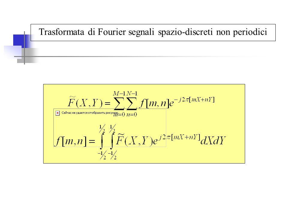 Filtraggio nel dominio delle frequenze spaziali: filtro ideale Nel dominio trasformato il filtro mantiene solo una parte dei coefficienti della trasformata e pone a zero i restanti