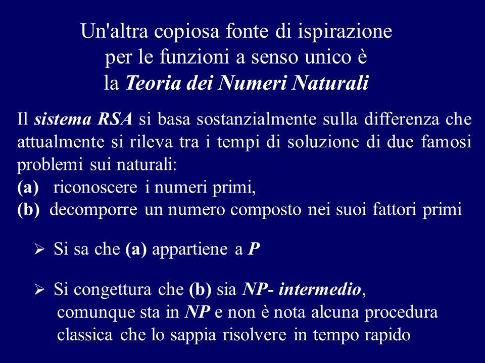 Un'altra copiosa fonte di ispirazione per le funzioni a senso unico è la Teoria dei Numeri Naturali  Si sa che (a) appartiene a P Il sistema RSA si b
