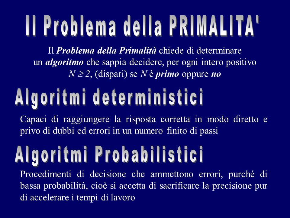 Il Problema della Primalità chiede di determinare un algoritmo che sappia decidere, per ogni intero positivo N  2, (dispari) se N è primo oppure no P