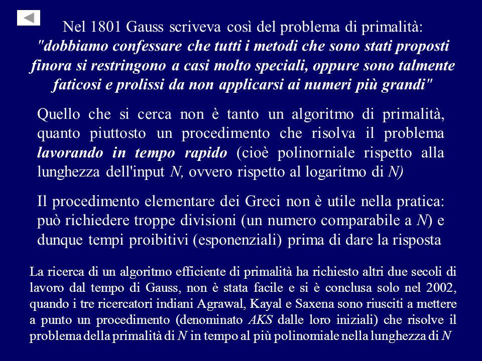 Nel 1801 Gauss scriveva così del problema di primalità: