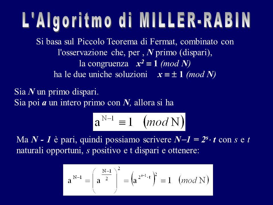 Si basa sul Piccolo Teorema di Fermat, combinato con l'osservazione che, per, N primo (dispari), la congruenza x 2  1 (mod N) ha le due uniche soluzi