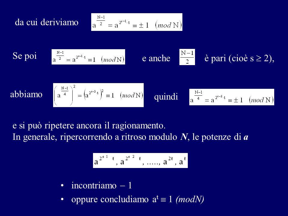 da cui deriviamo Se poi quindi e anche è pari (cioè s  2), e si può ripetere ancora il ragionamento. In generale, ripercorrendo a ritroso modulo N, l