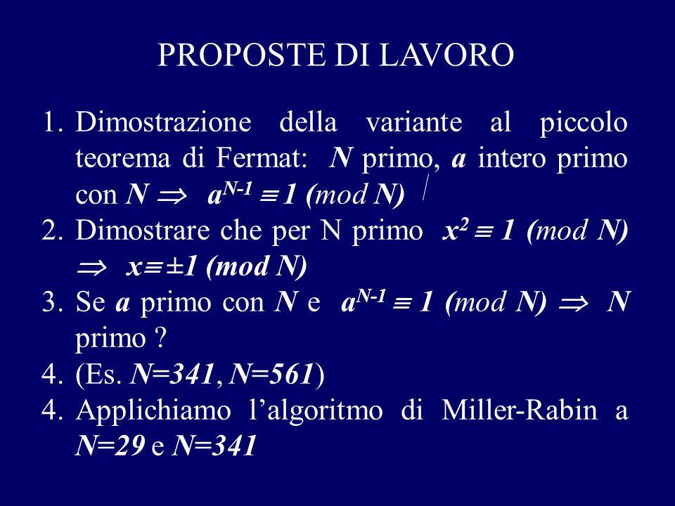 PROPOSTE DI LAVORO 1.Dimostrazione della variante al piccolo teorema di Fermat: N primo, a intero primo con N  a N-1  1 (mod N) 2.Dimostrare che per