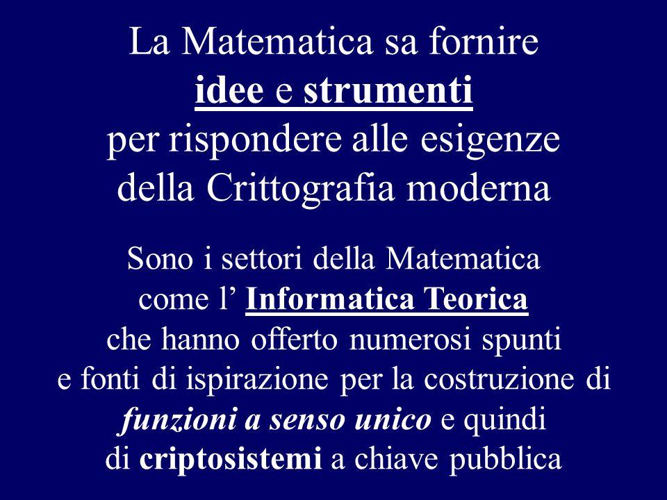 La Matematica sa fornire idee e strumenti per rispondere alle esigenze della Crittografia moderna Sono i settori della Matematica come l' Informatica