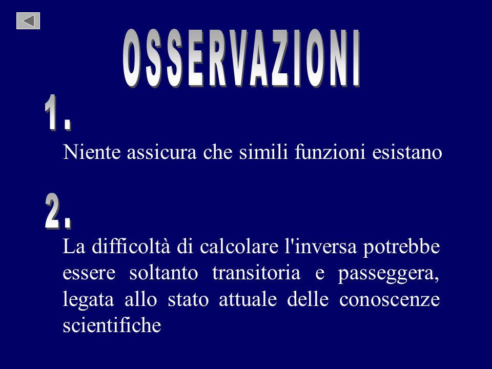 Niente assicura che simili funzioni esistano La difficoltà di calcolare l'inversa potrebbe essere soltanto transitoria e passeggera, legata allo stato