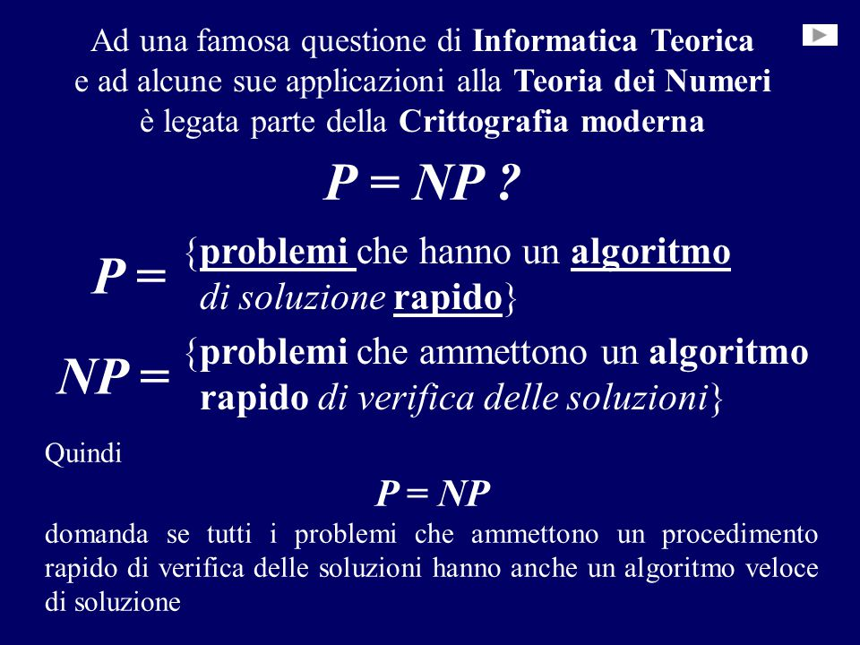 P = NP ? {problemi che hanno un algoritmoproblemi algoritmo di soluzione rapido}rapido {problemi che ammettono un algoritmo rapido di verifica delle s