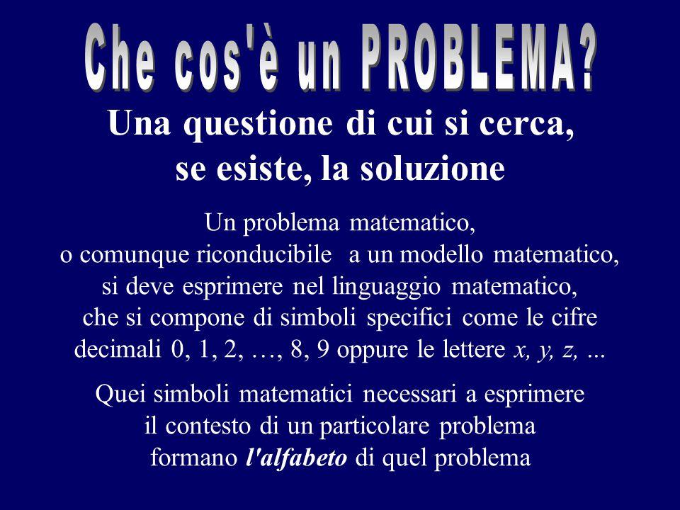 Un problema matematico, o comunque riconducibile a un modello matematico, si deve esprimere nel linguaggio matematico, che si compone di simboli speci