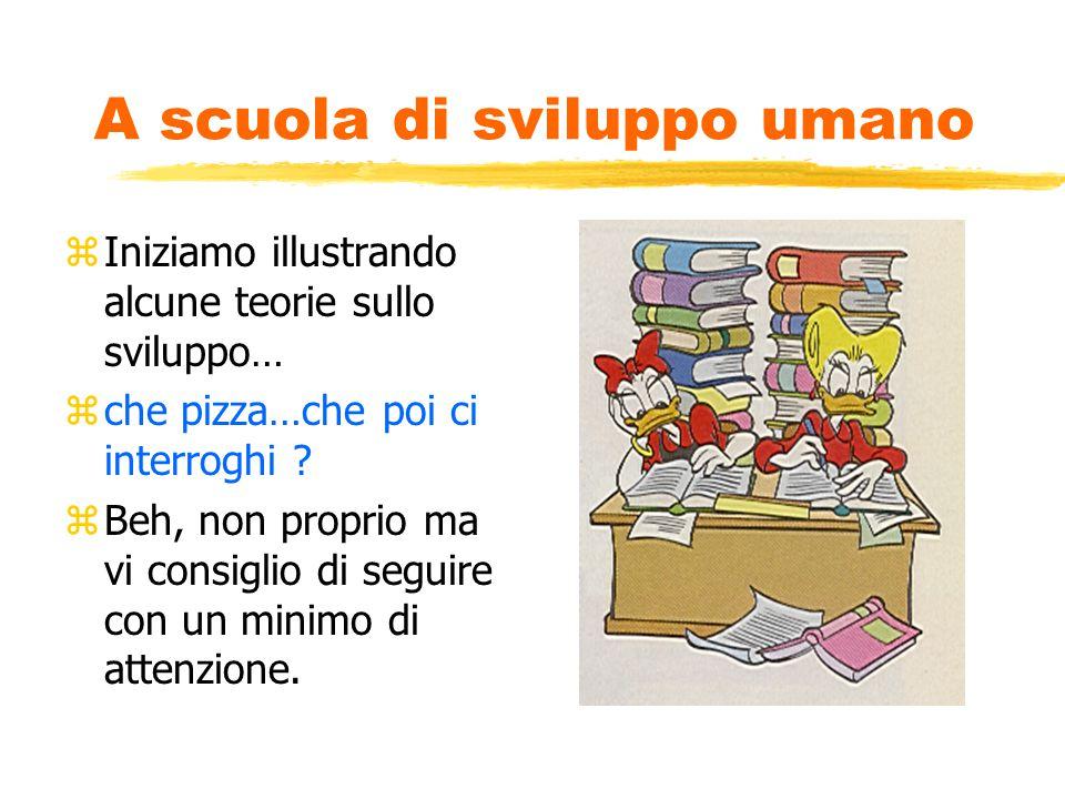 A scuola di sviluppo umano zIniziamo illustrando alcune teorie sullo sviluppo… zche pizza…che poi ci interroghi .