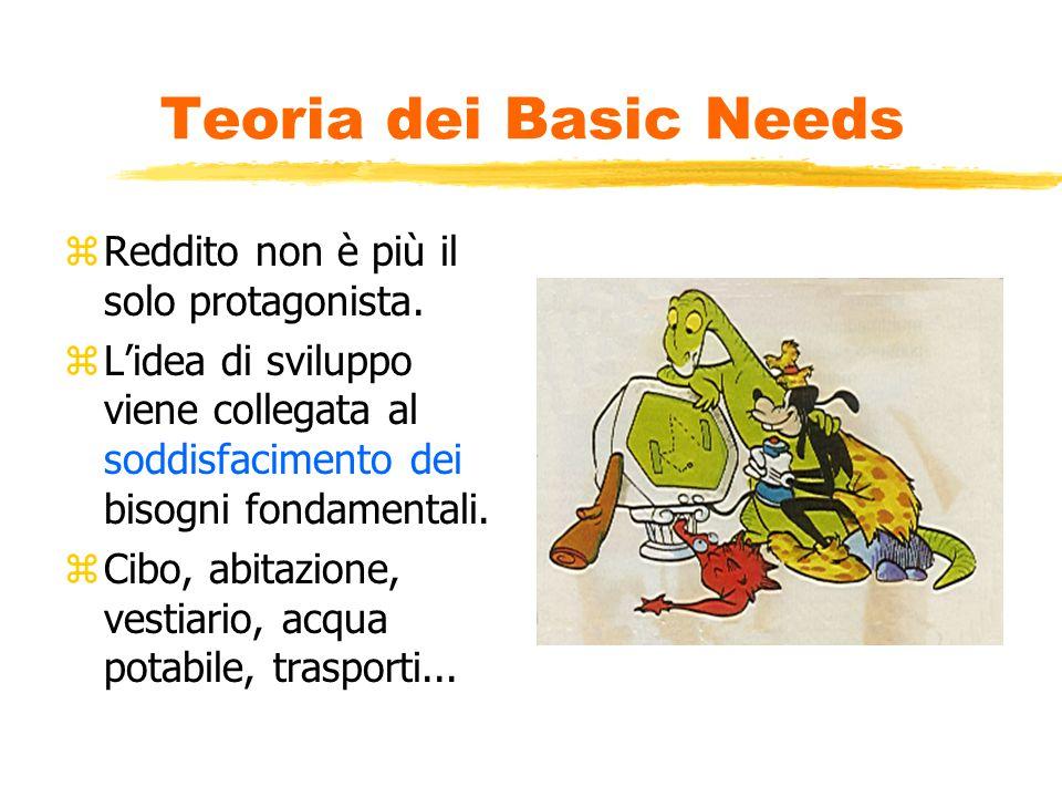 Teoria dei Basic Needs zReddito non è più il solo protagonista.