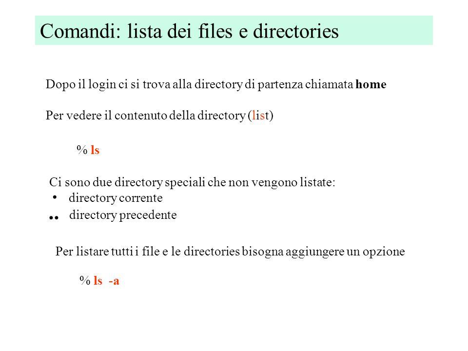 Comandi: lista dei files e directories Dopo il login ci si trova alla directory di partenza chiamata home Per vedere il contenuto della directory (list) % ls Ci sono due directory speciali che non vengono listate: directory corrente...