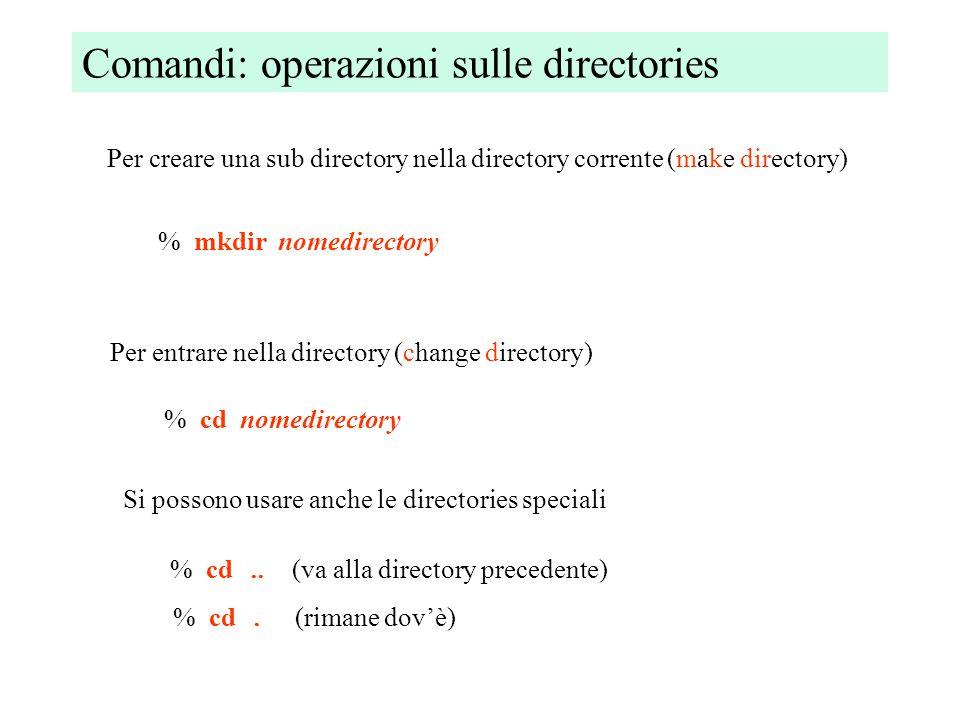 Comandi: operazioni sulle directories Per creare una sub directory nella directory corrente (make directory) % mkdir nomedirectory Per entrare nella directory (change directory) % cd nomedirectory Si possono usare anche le directories speciali % cd..