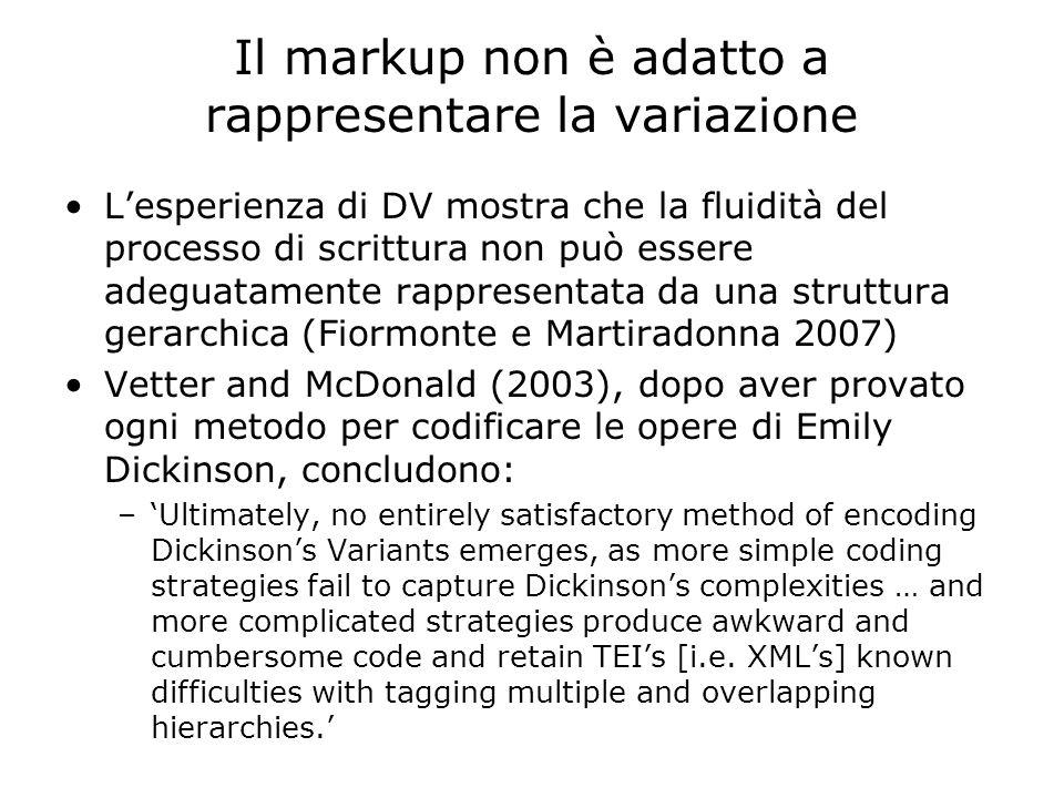 Tutte le soluzioni DV (1996-2007) Word: –Sanvitale HTML –Tutti… HTML / Java Script –Cerami, Sanvitale SGML-TEI –Sanvitale Flip-Zooming –Sanvitale XML-TEI –Magrelli, Cerami Flash –Magrelli MVD –Cerami, Magrelli, Galiano