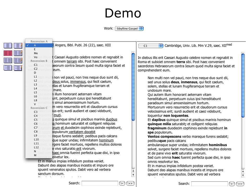 MVD sul Web È già in funzione un prototipo di web service Sarà un ambiente interattivo dove gli utenti potranno direttamente manipolare e gestire i documenti multi- versione