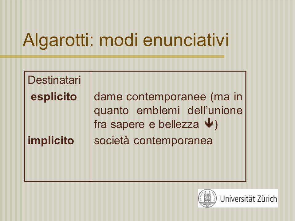 Algarotti: modi enunciativi Modelli recentiSottolinea la rottura con la tradizione letteraria stabilita (Galileo invece di Boccaccio)