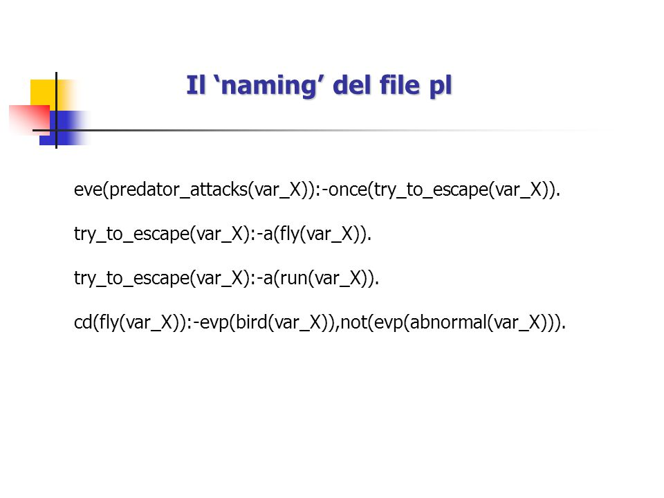 Il 'naming' del file pl eve(predator_attacks(var_X)):-once(try_to_escape(var_X)).