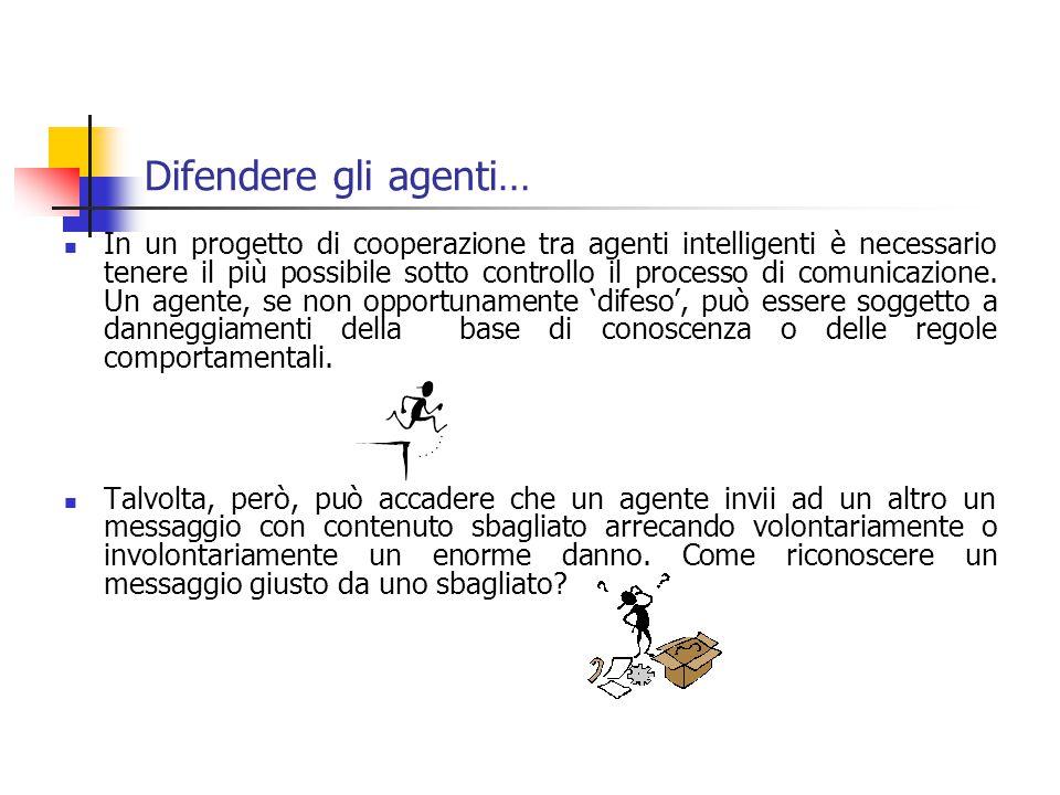 Difendere gli agenti… In un progetto di cooperazione tra agenti intelligenti è necessario tenere il più possibile sotto controllo il processo di comunicazione.