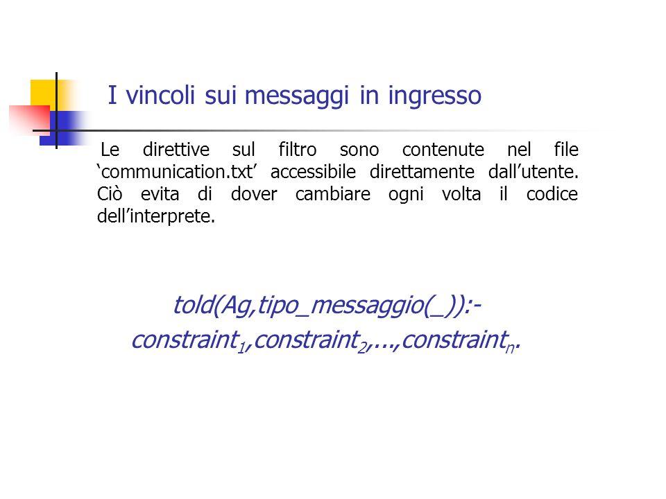 I vincoli sui messaggi in ingresso Le direttive sul filtro sono contenute nel file 'communication.txt' accessibile direttamente dall'utente.