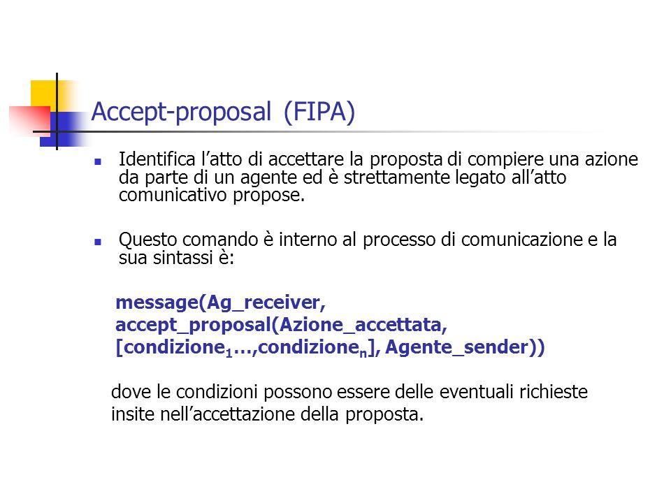 Accept-proposal (FIPA) Identifica l'atto di accettare la proposta di compiere una azione da parte di un agente ed è strettamente legato all'atto comunicativo propose.