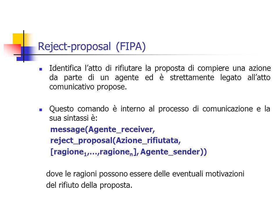Reject-proposal (FIPA) Identifica l'atto di rifiutare la proposta di compiere una azione da parte di un agente ed è strettamente legato all'atto comunicativo propose.