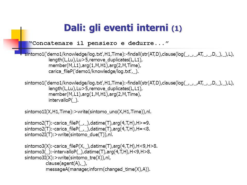 I vincoli sui messaggi in uscita Le condizioni di filtro dei messaggi in uscita sono contenute sempre nel file 'communication.txt' ma hanno 'tell' come suffisso: tell(To,From,type_message(_)):- constraint 1,...,constraint n.