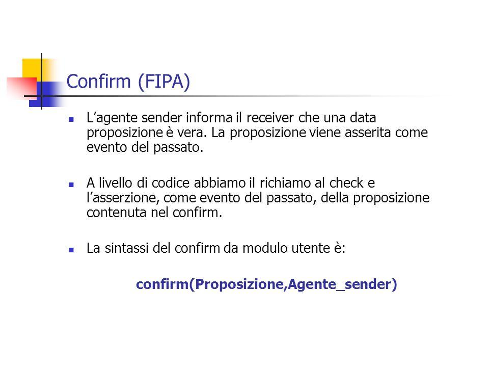 Confirm (FIPA) L'agente sender informa il receiver che una data proposizione è vera.