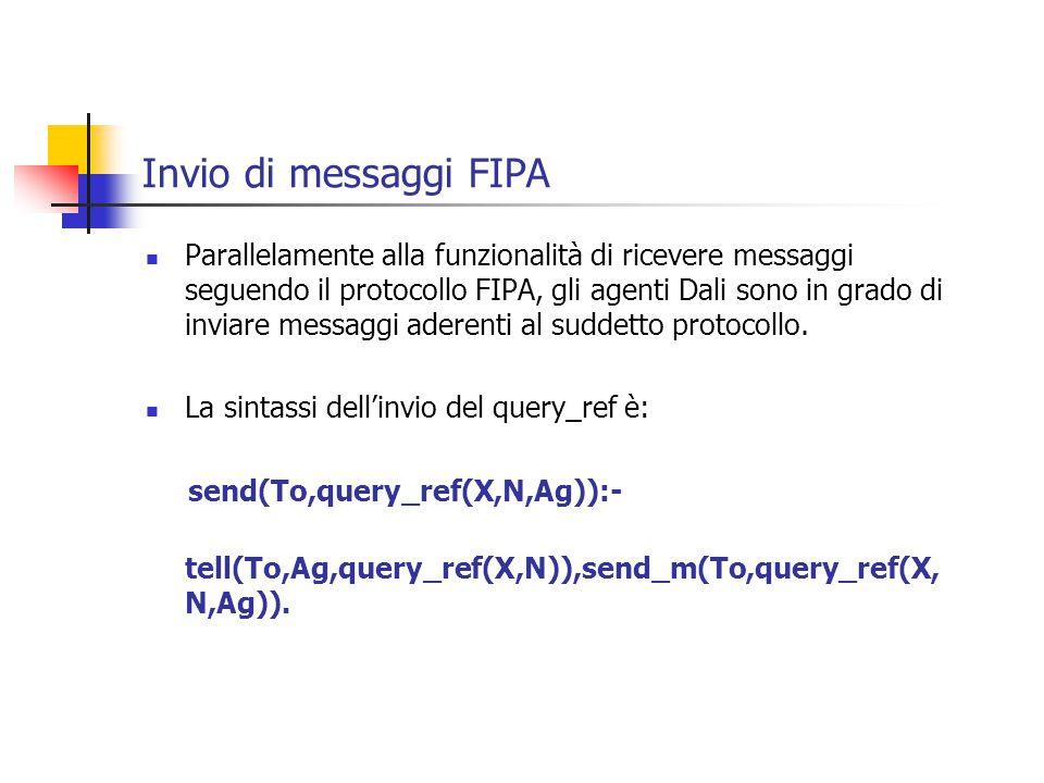 Invio di messaggi FIPA Parallelamente alla funzionalità di ricevere messaggi seguendo il protocollo FIPA, gli agenti Dali sono in grado di inviare messaggi aderenti al suddetto protocollo.