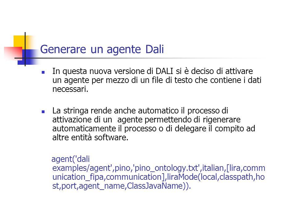 Generare un agente Dali In questa nuova versione di DALI si è deciso di attivare un agente per mezzo di un file di testo che contiene i dati necessari.