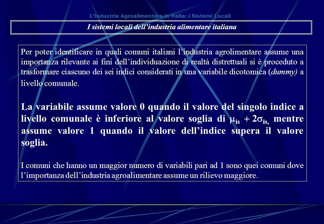 L'Industria Agroalimentare in Italia: i Sistemi Locali Per poter identificare in quali comuni italiani l'industria agrolimentare assume una importanza