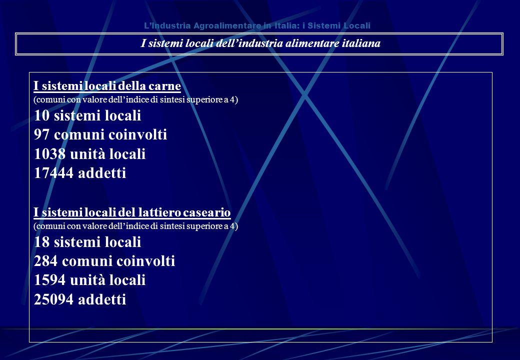 L'Industria Agroalimentare in Italia: i Sistemi Locali I sistemi locali della carne (comuni con valore dell'indice di sintesi superiore a 4) 10 sistem
