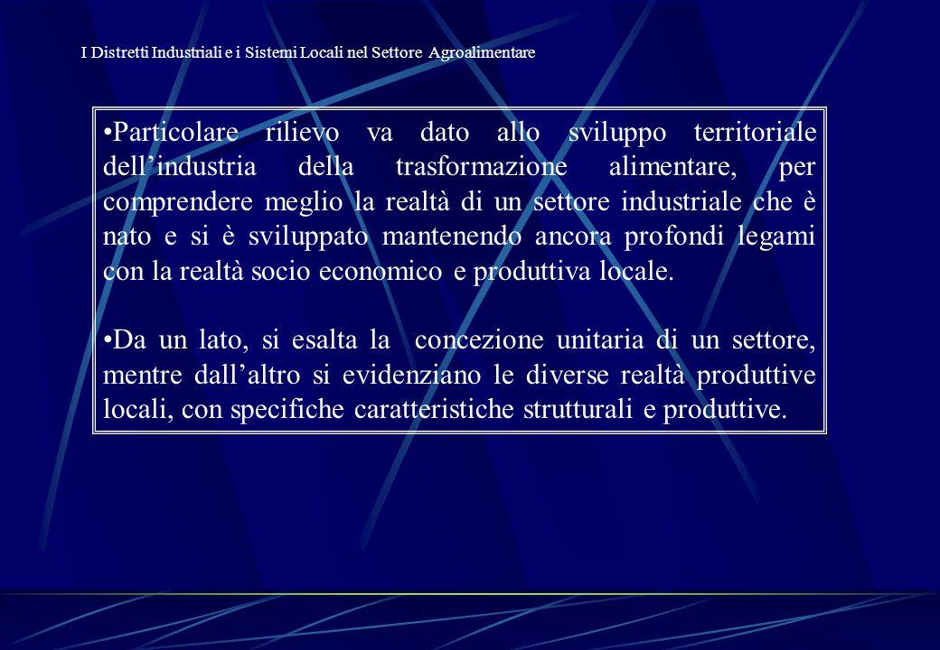 L'Industria Agroalimentare in Italia: i Sistemi Locali I sistemi locali dell'industria alimentare italiana Indice di localizzazione delle imprese Indice di localizzazione dell'occupazione Indice di concentrazione delle imprese Indice di concentrazione dell'occupazione Indice di specializzazione delle imprese agroindustriali Indice di specializzazione dell'occupazione agroindustriale