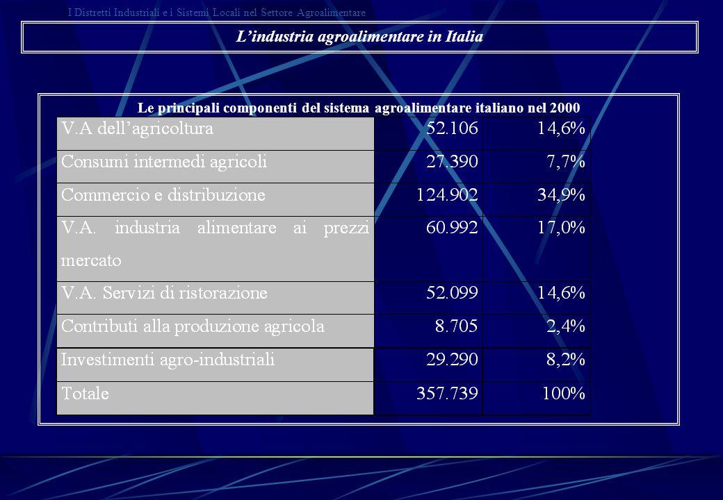 I Distretti Industriali e i Sistemi Locali nel Settore Agroalimentare L'evoluzione del sistema agroalimentare dopo il 1970 Il modello di Malassis VAAN/PIL = CA/PIL * PFA/CA * VAAN/PFA Fonte: nostre elaborazioni su dati Eurostat L'industria agroalimentare in Italia