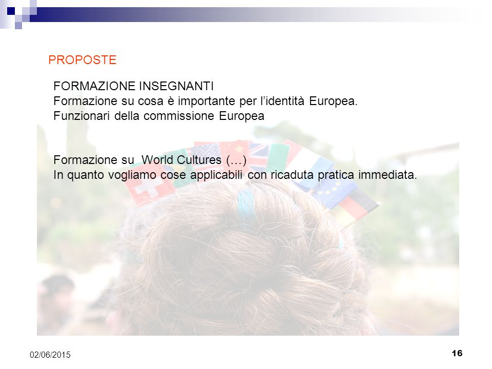 16 02/06/2015 FORMAZIONE INSEGNANTI Formazione su cosa è importante per l'identità Europea.