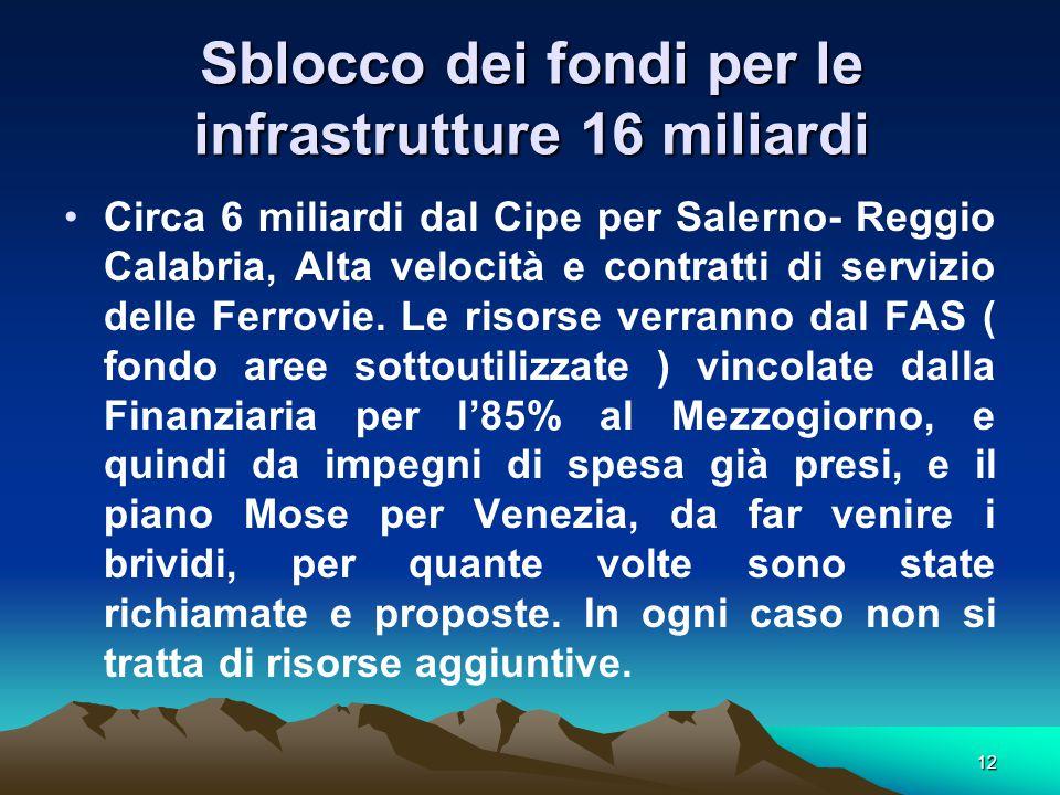 12 Sblocco dei fondi per le infrastrutture 16 miliardi Circa 6 miliardi dal Cipe per Salerno- Reggio Calabria, Alta velocità e contratti di servizio delle Ferrovie.