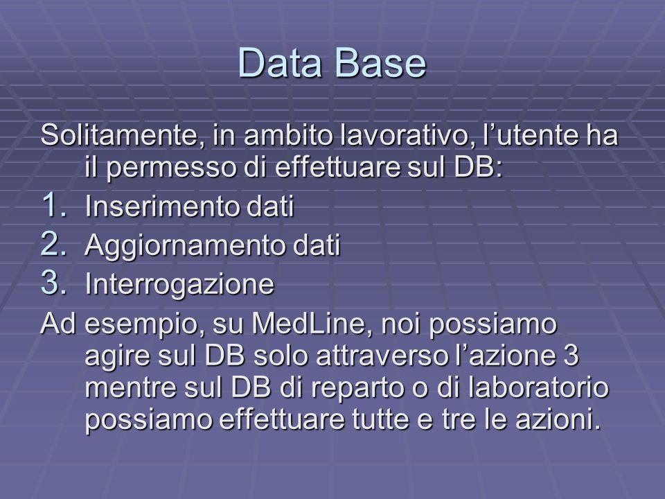 Data Base Solitamente, in ambito lavorativo, l'utente ha il permesso di effettuare sul DB: 1.