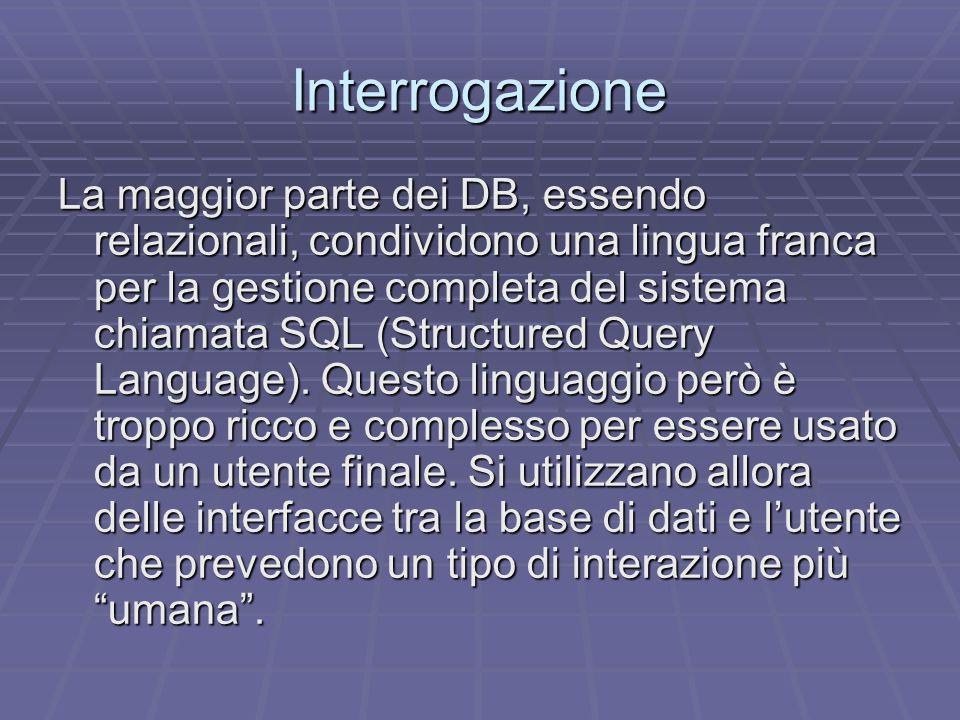 Interrogazione La maggior parte dei DB, essendo relazionali, condividono una lingua franca per la gestione completa del sistema chiamata SQL (Structured Query Language).