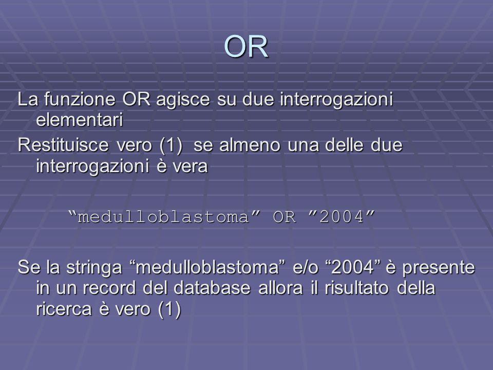 OR La funzione OR agisce su due interrogazioni elementari Restituisce vero (1) se almeno una delle due interrogazioni è vera medulloblastoma OR 2004 Se la stringa medulloblastoma e/o 2004 è presente in un record del database allora il risultato della ricerca è vero (1)