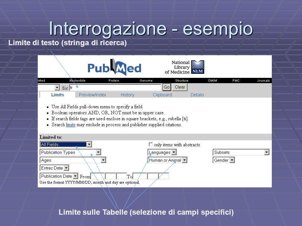 Interrogazione - esempio Limite sulle Tabelle (selezione di campi specifici) Limite di testo (stringa di ricerca)