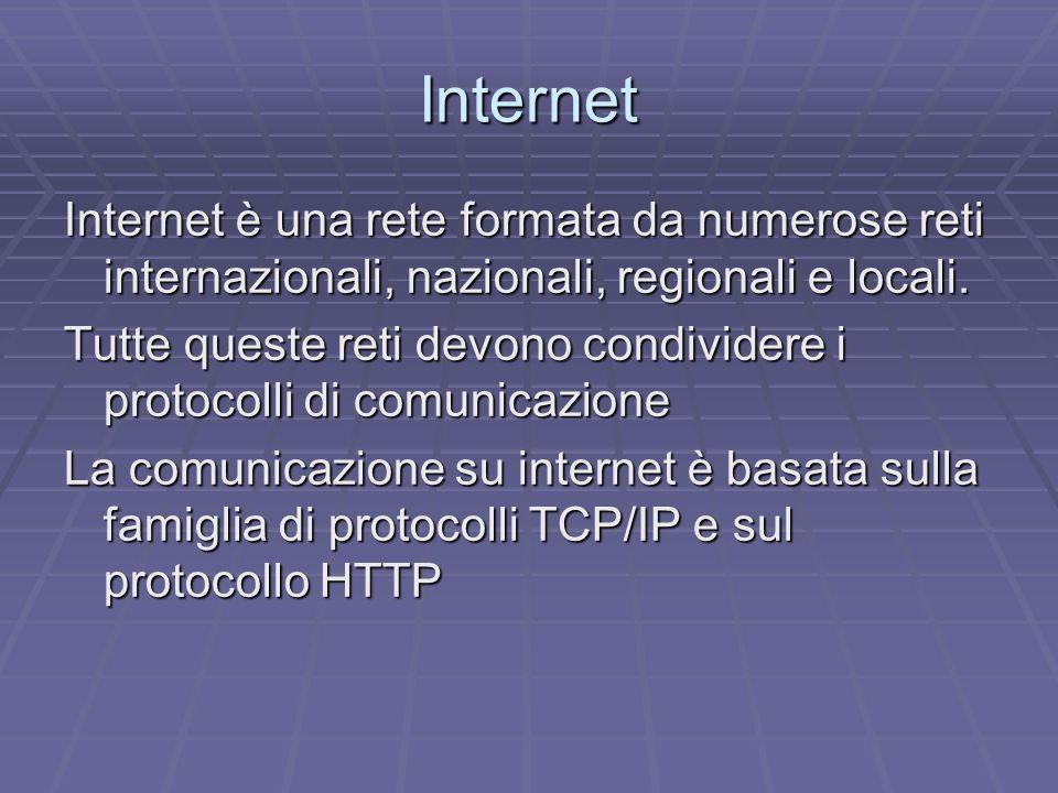 Internet Internet è una rete formata da numerose reti internazionali, nazionali, regionali e locali.