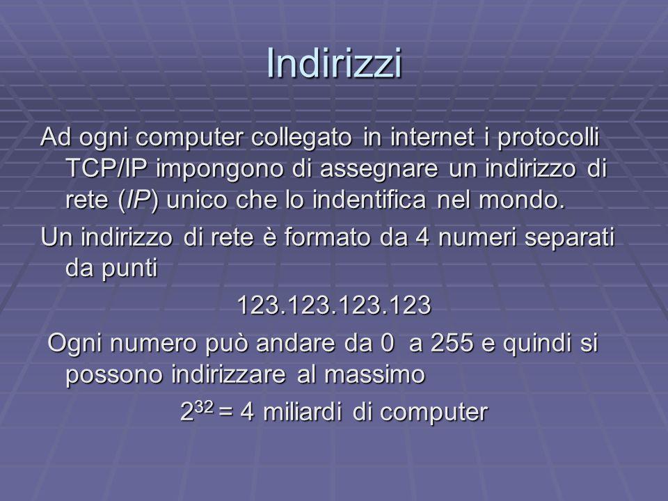 Indirizzi Ad ogni computer collegato in internet i protocolli TCP/IP impongono di assegnare un indirizzo di rete (IP) unico che lo indentifica nel mondo.