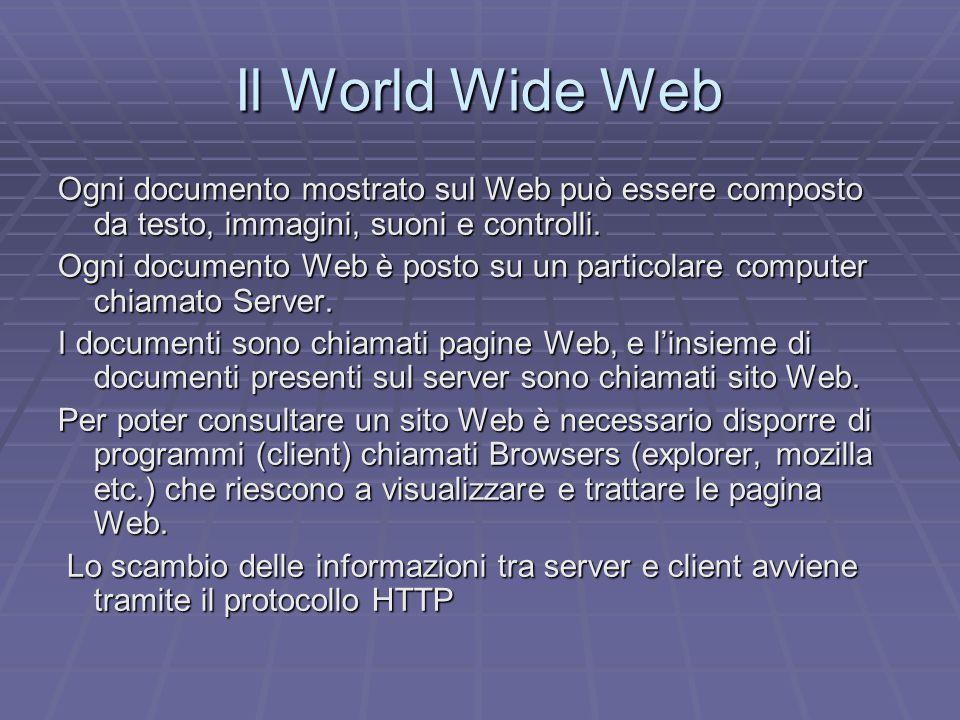 Ogni documento mostrato sul Web può essere composto da testo, immagini, suoni e controlli.